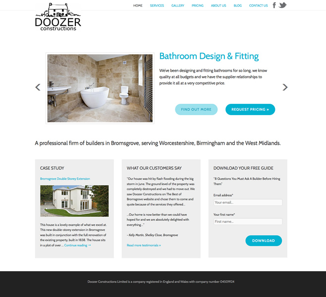 Doozers Website Development Project - Home Page