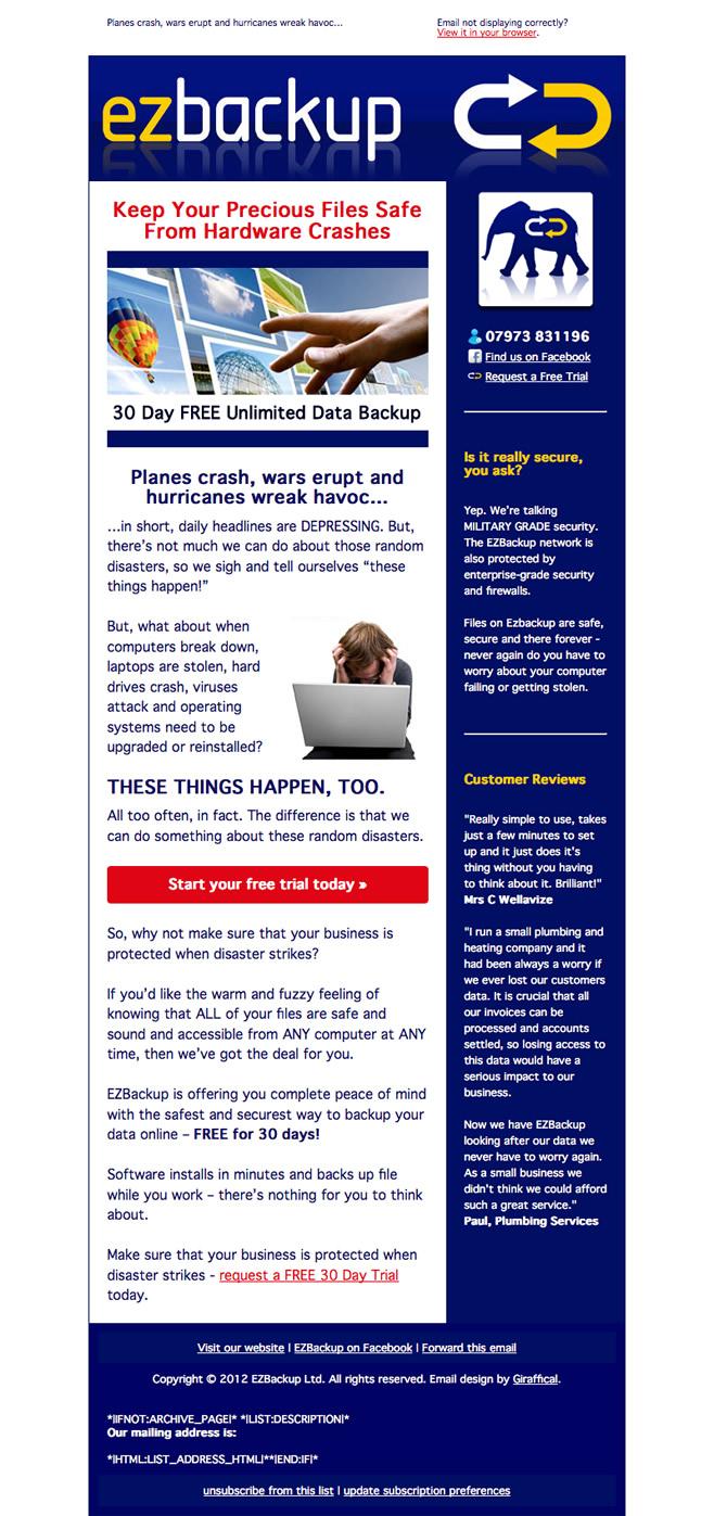 Ezbackup Email Design