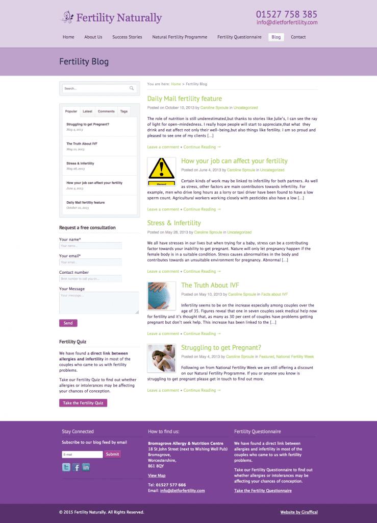 Fertility Naturally Website Development Project - Blog Page