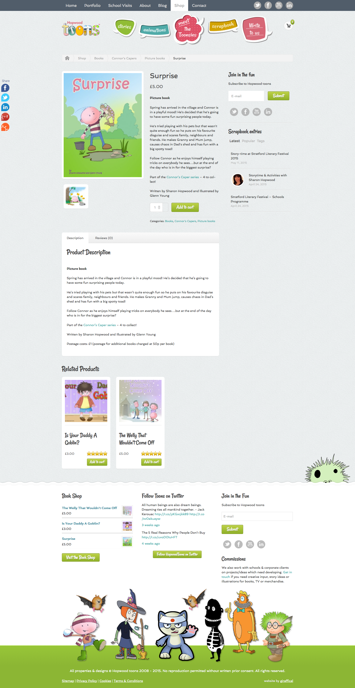 Hopwood Toons Website Redesign - Product Page