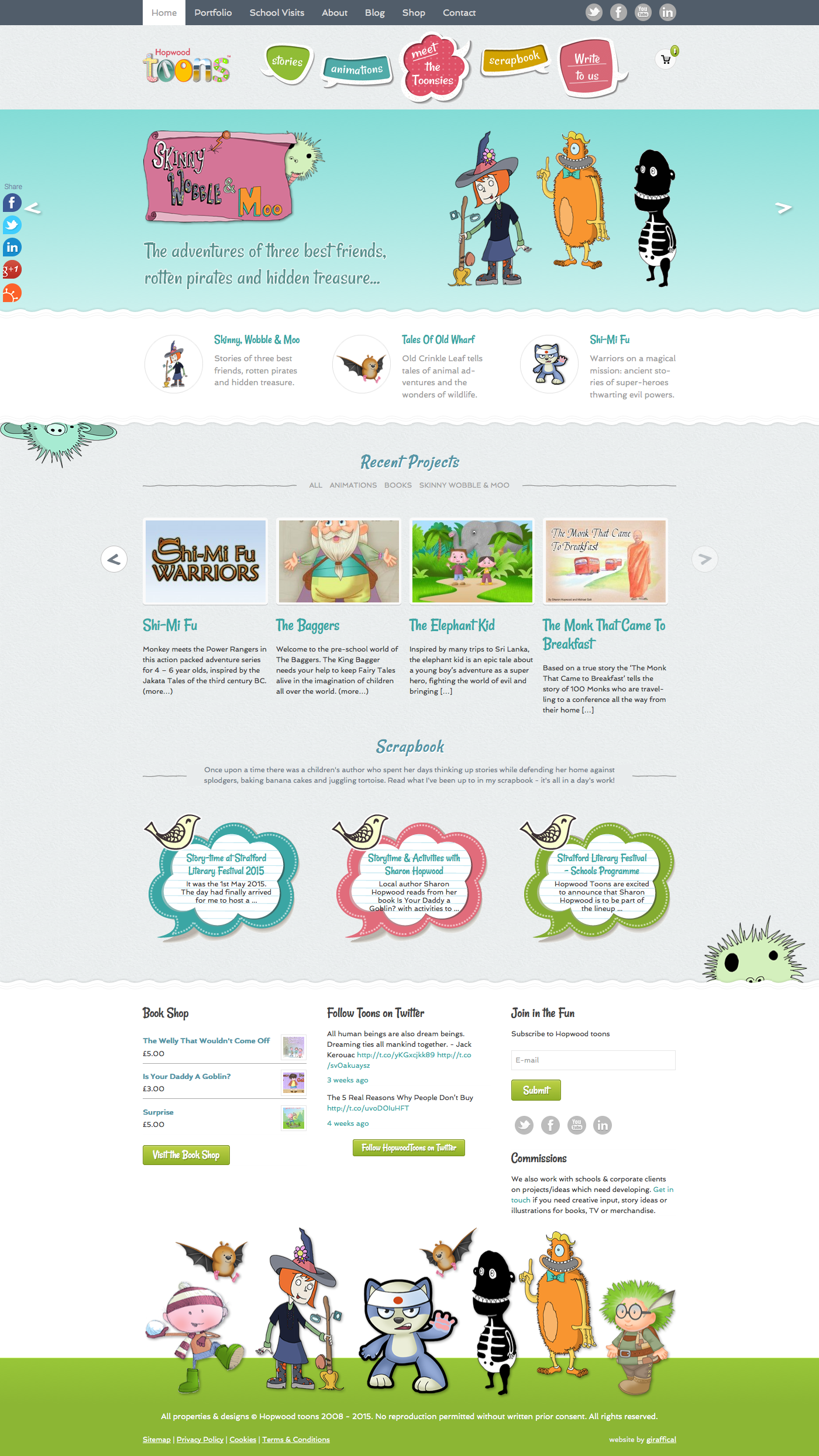 Hopwood Toons Website Redesign - Homepage