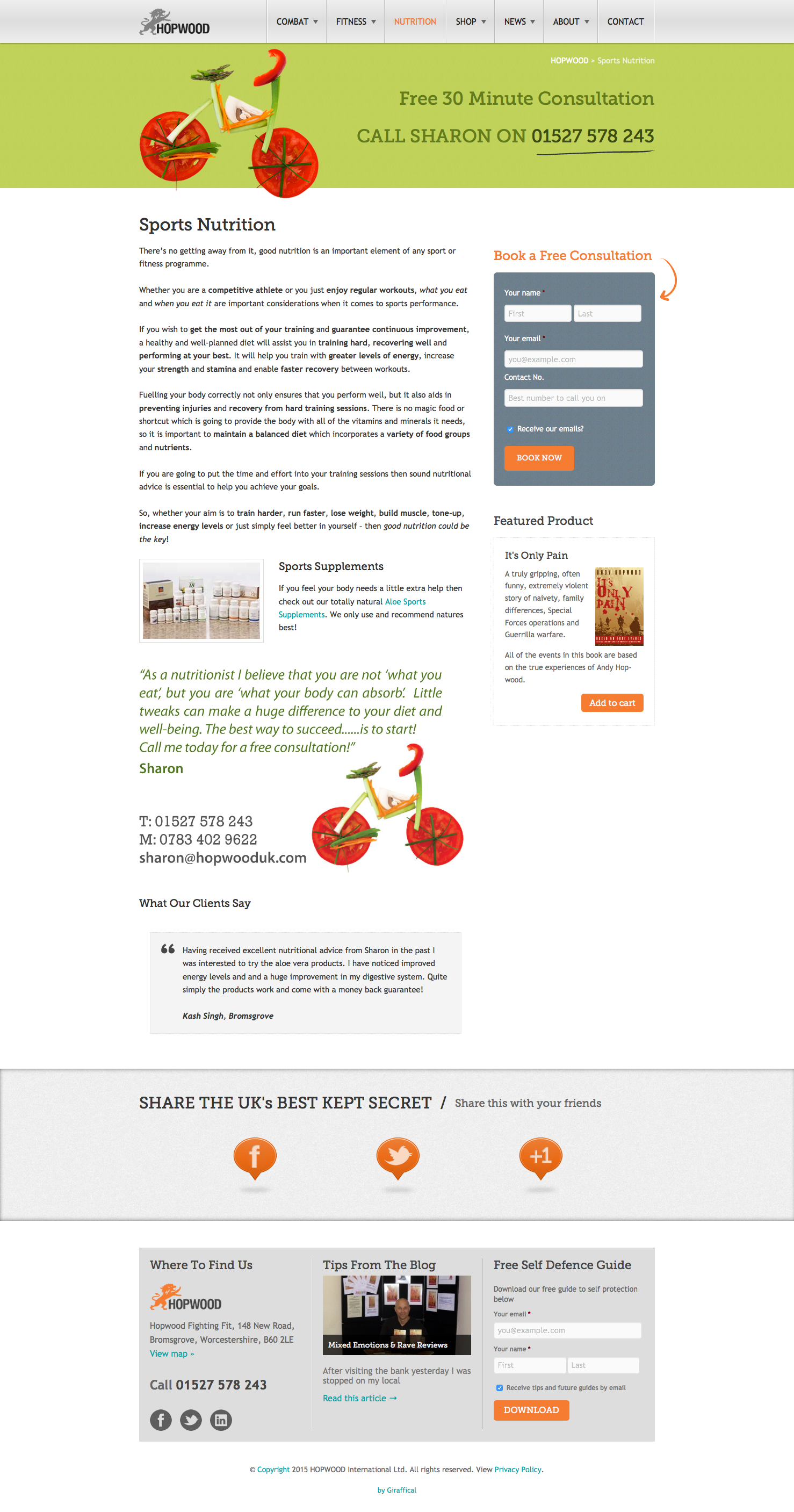 Hopwood UK Website Redesign - Nutrition Page