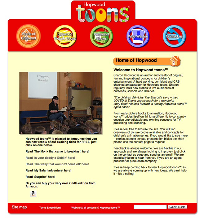 Original Hopwood Toons Website Before Redesign