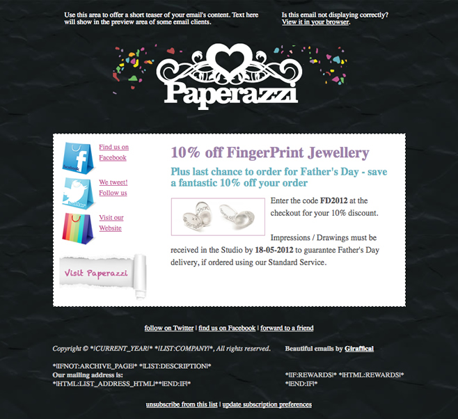 Paperazzi Papercuts Email Design