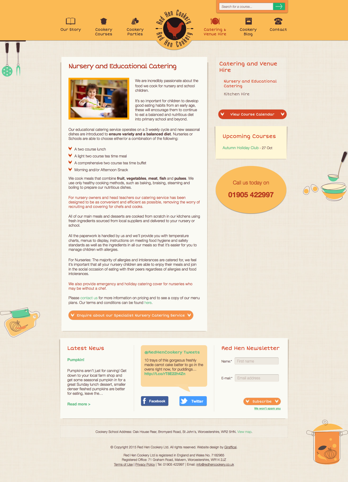 Red Hen Cookery Website Redesign - Catering Page
