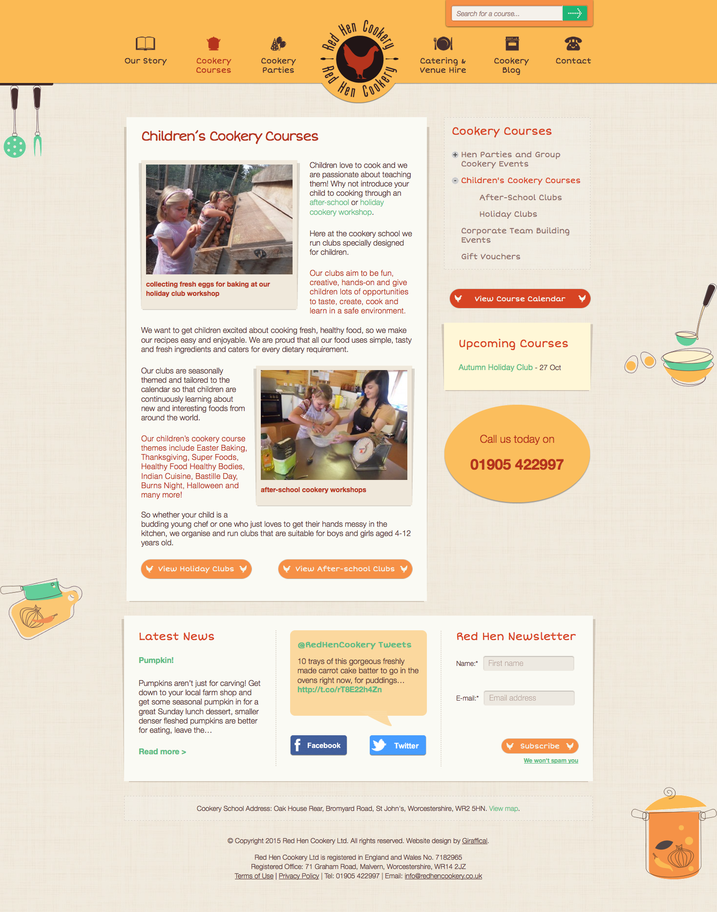 Red Hen Cookery Website Redesign - Cookery Courses Page