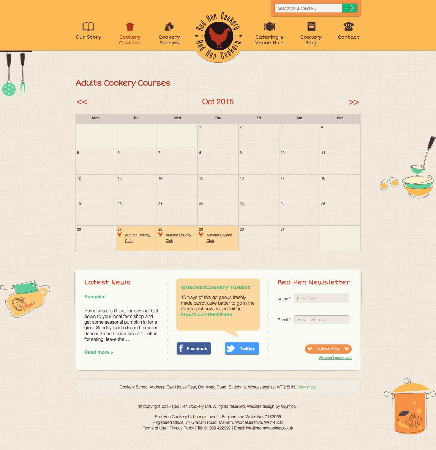 Red Hen Cookery Website Redesign - Course Calendar Page
