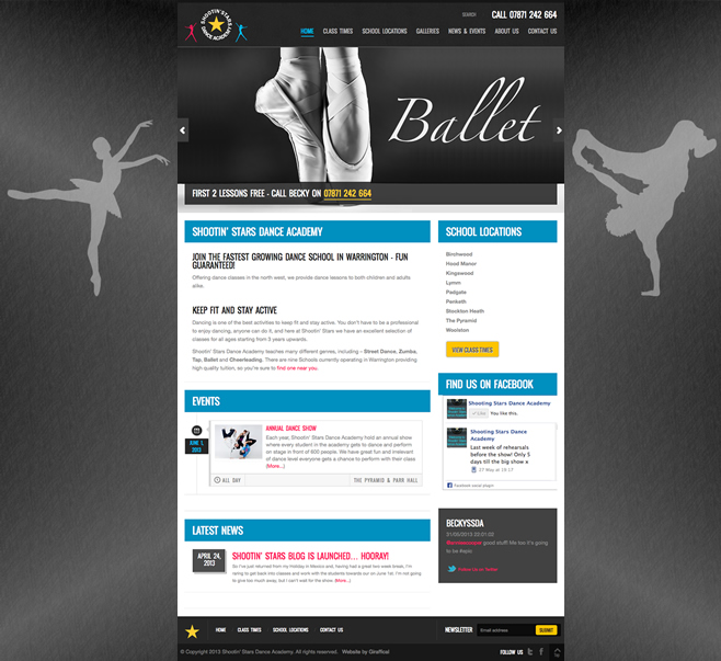 Shootin Stars Website Development Project - Home Page