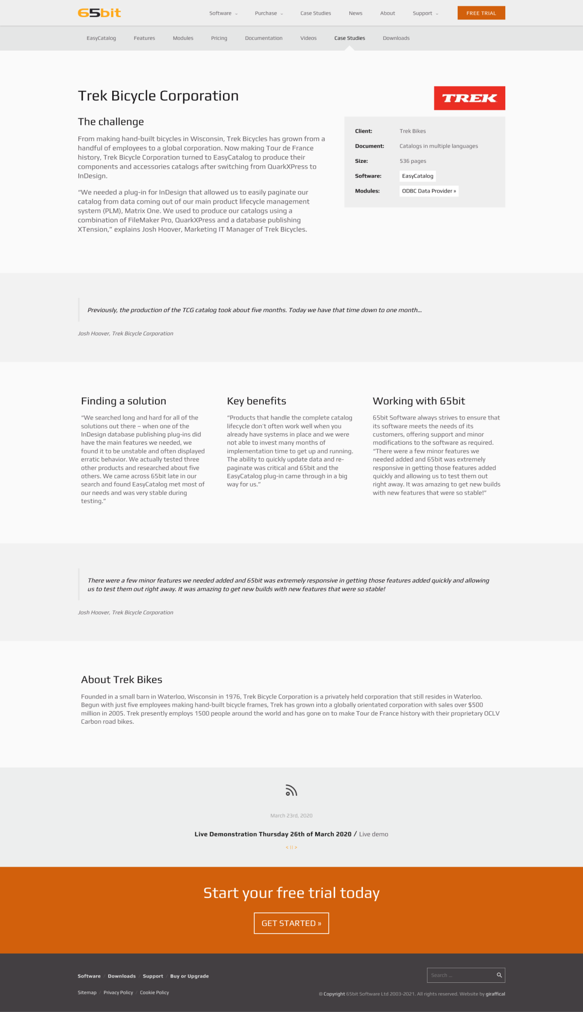 65bit Software Website Redesign - Case Study Page