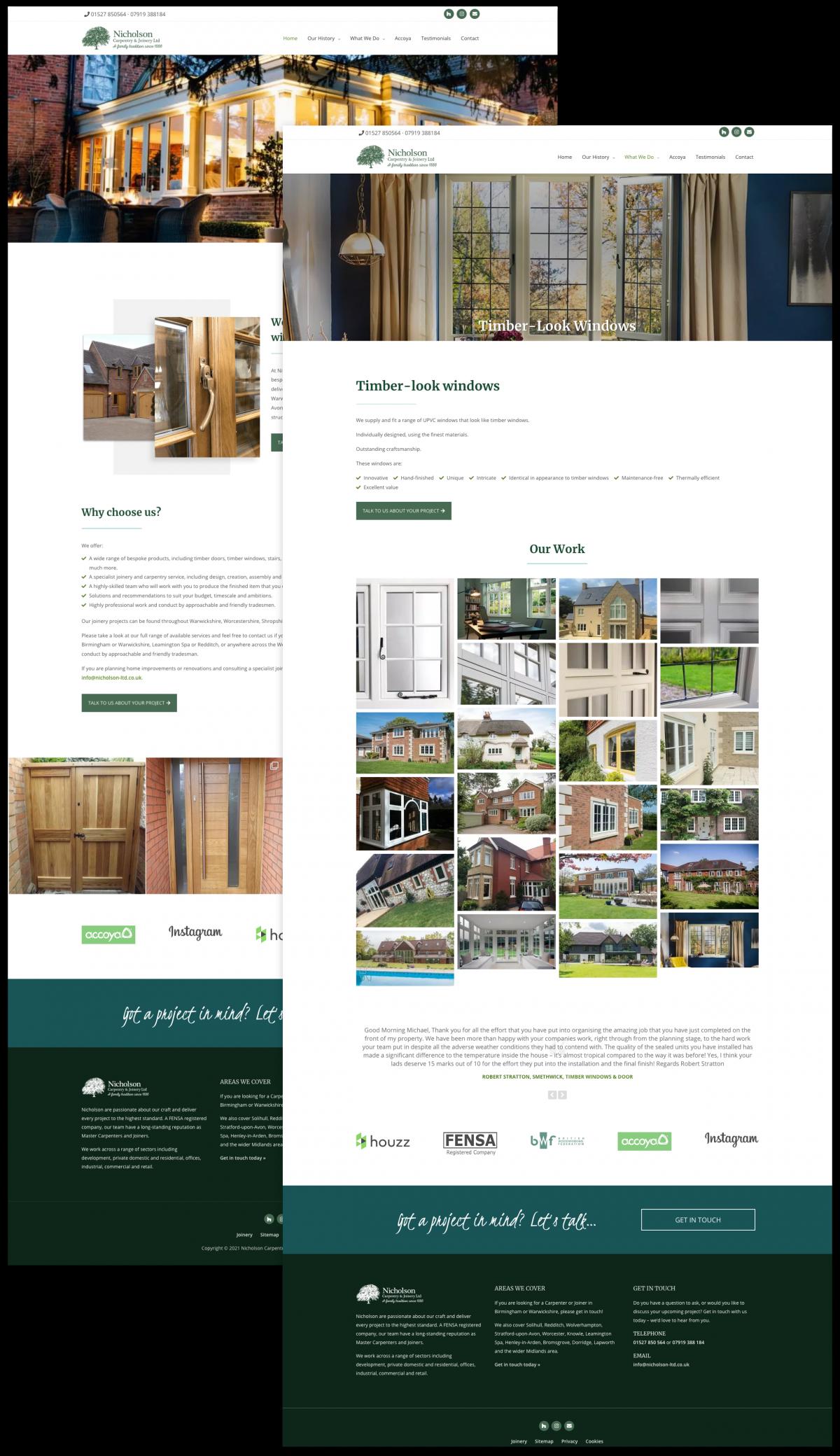 Carpenter Joiner Website Design - Nicholson Carpentry & Joinery