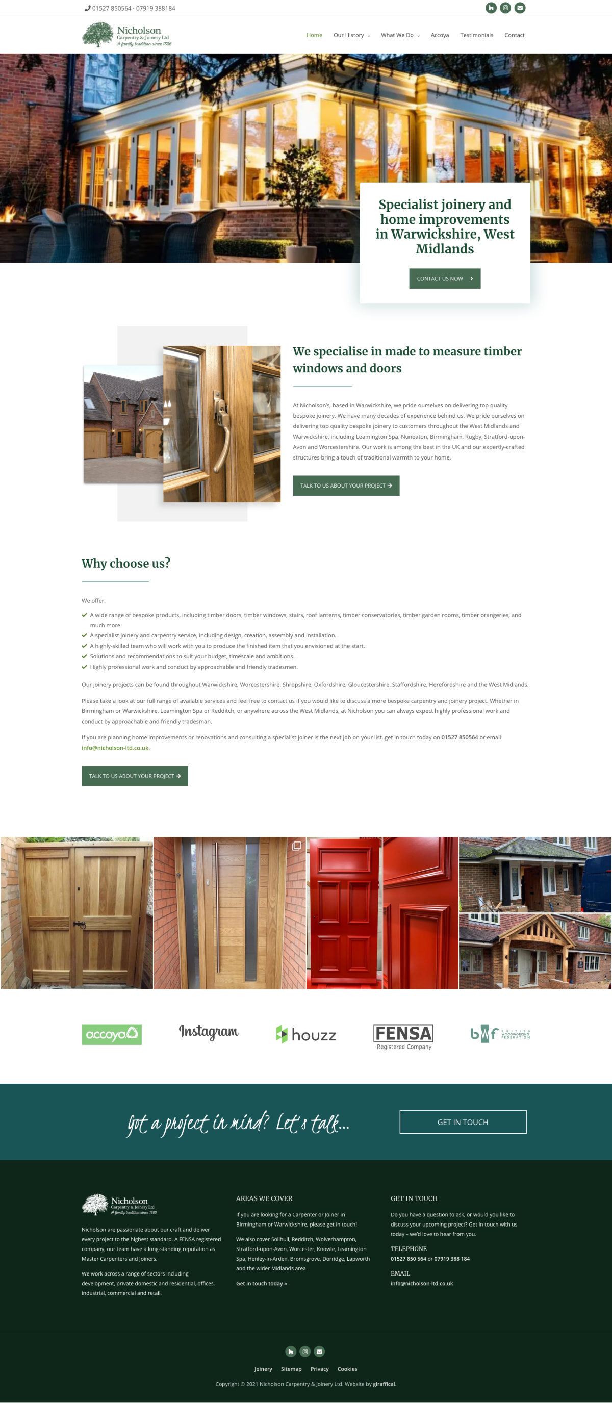 Carpenter Joiner Website Design - Nicholson Carpentry & Joinery - Home Page
