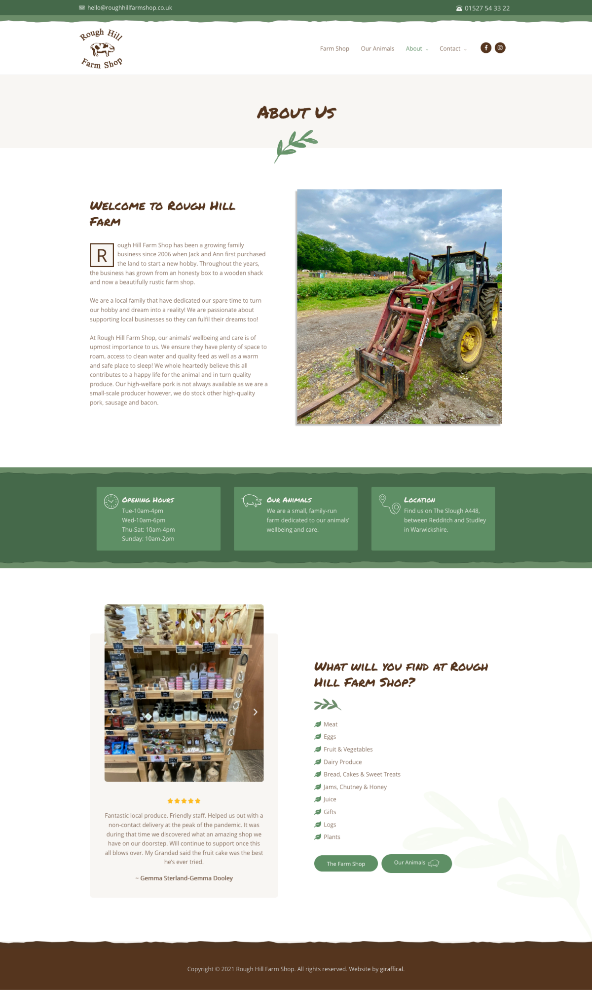 Farm Shop Website Design - Rough Hill Farm - About Page