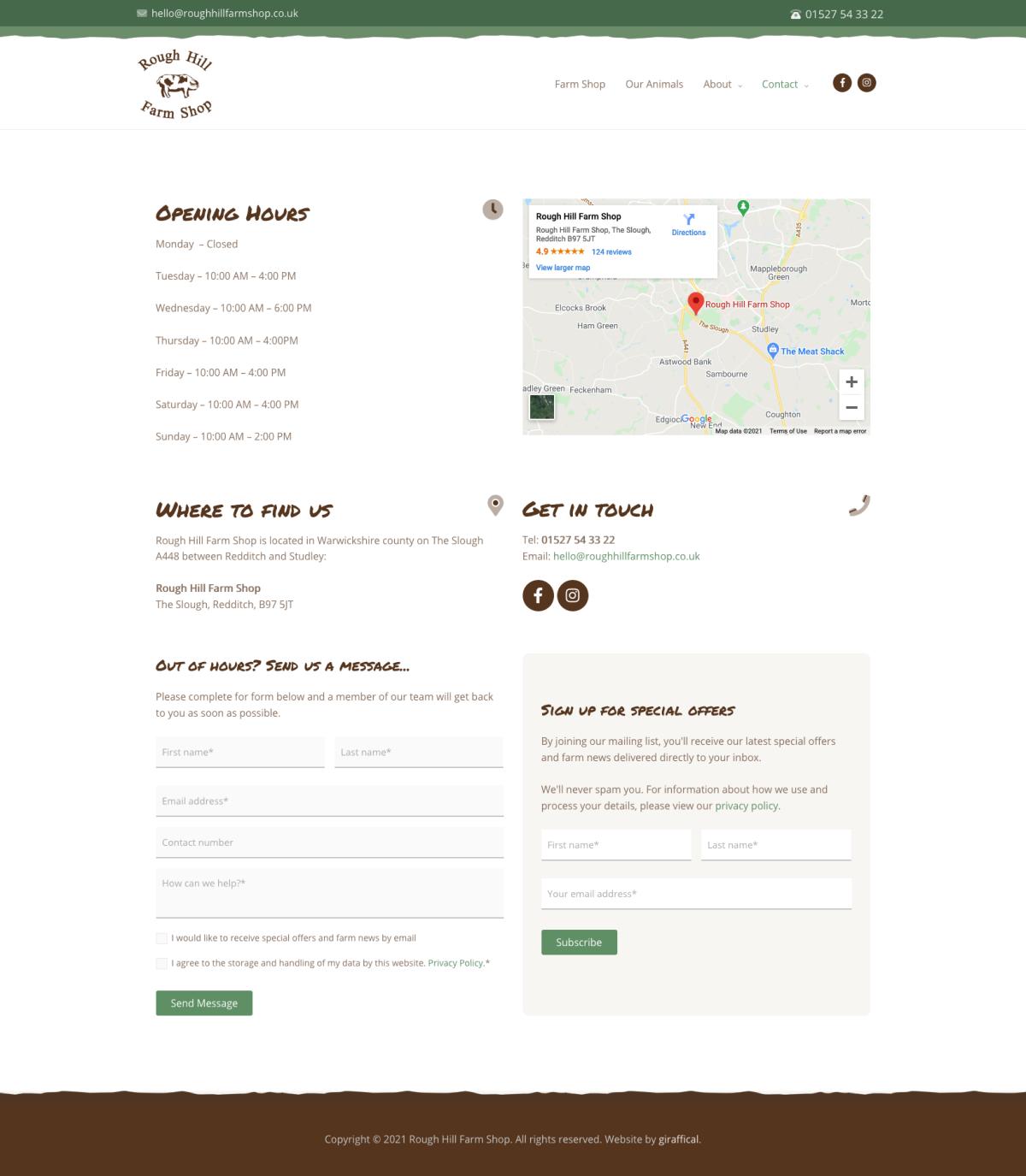 Farm Shop Website Design - Rough Hill Farm - Contact Page