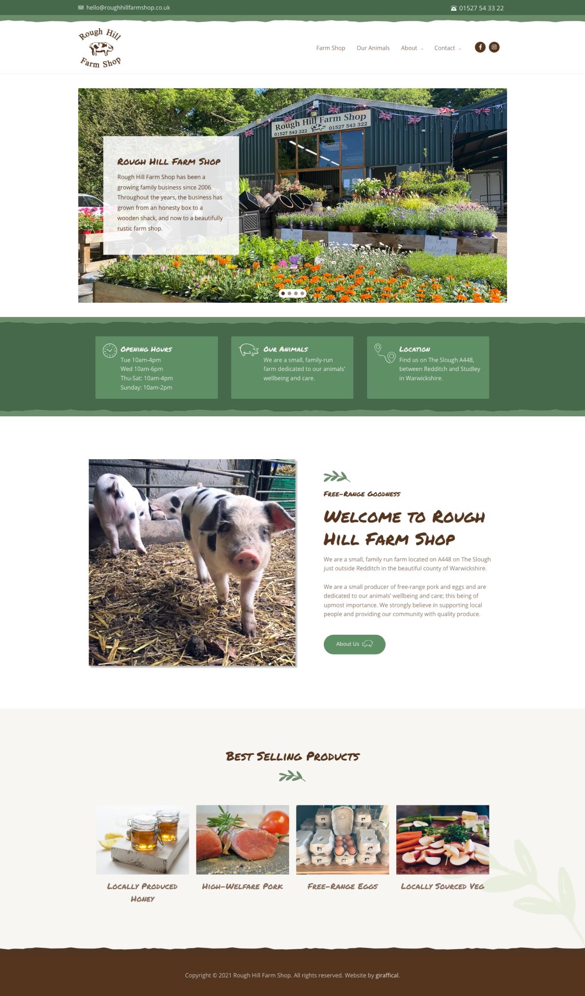 Farm Shop Website Design - Rough Hill Farm - Home Page