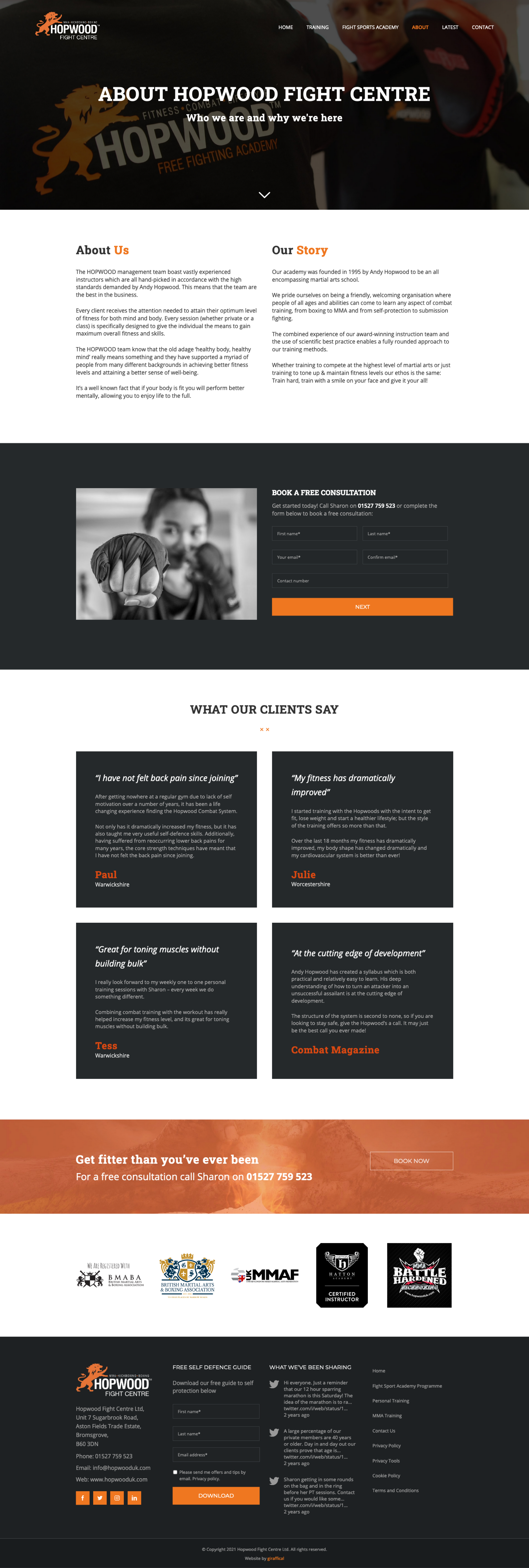Fight Centre Gym Website Design - Hopwood Fight Centre - About Page