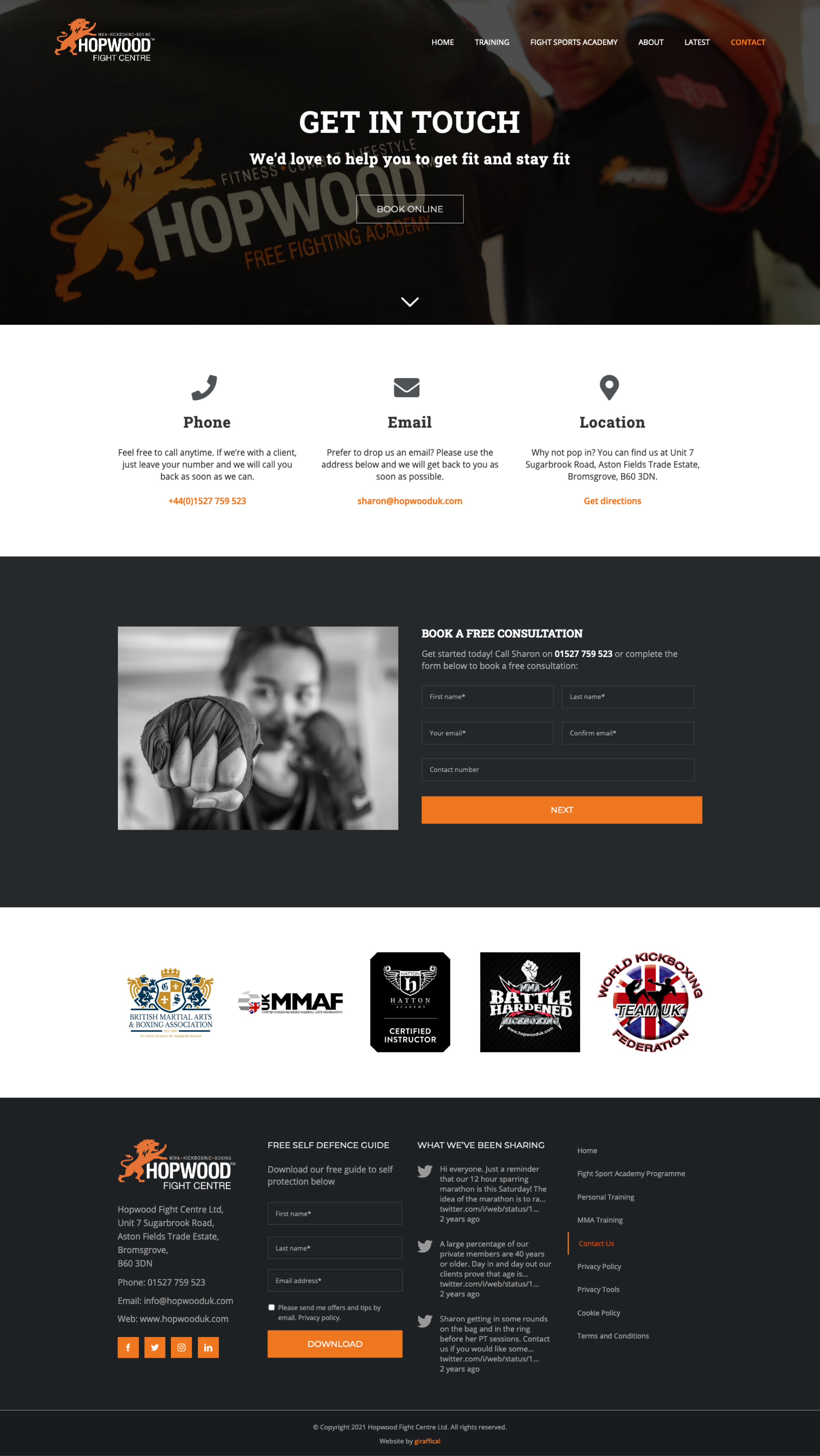 Fight Centre Gym Website Design - Hopwood Fight Centre - Contact Page