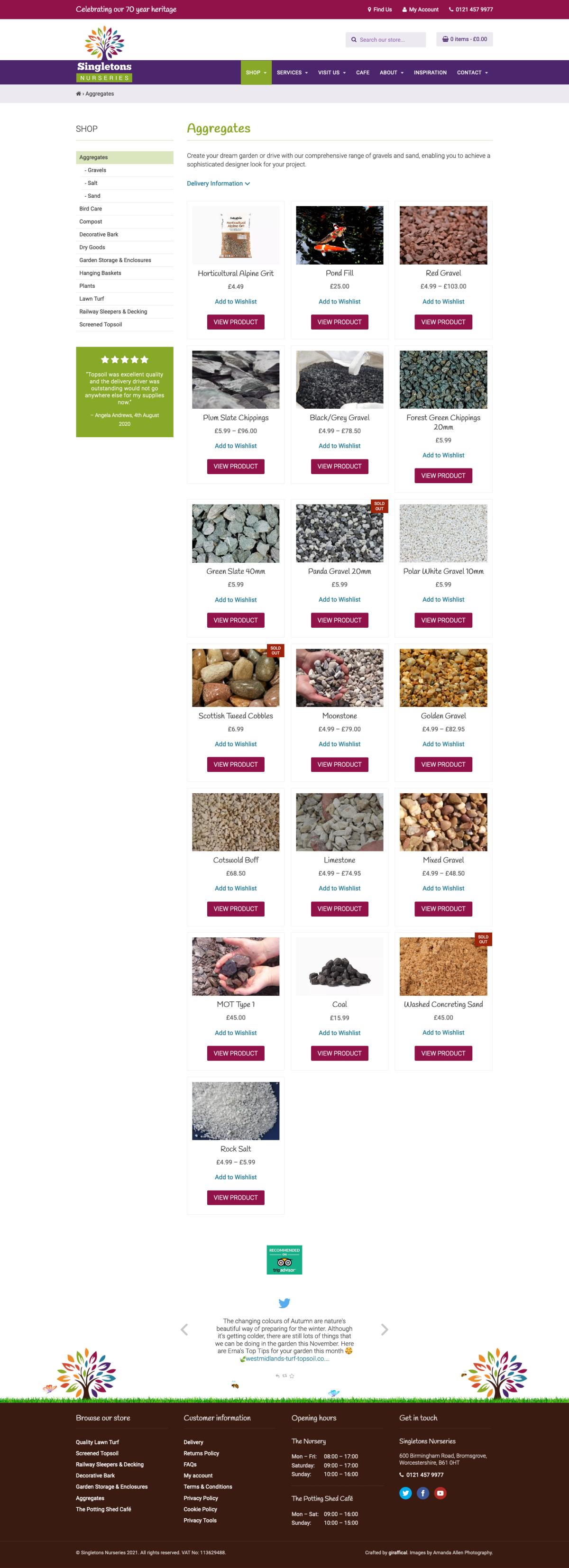 Garden Centre Website Design - Singletons Nurseries - Category Page