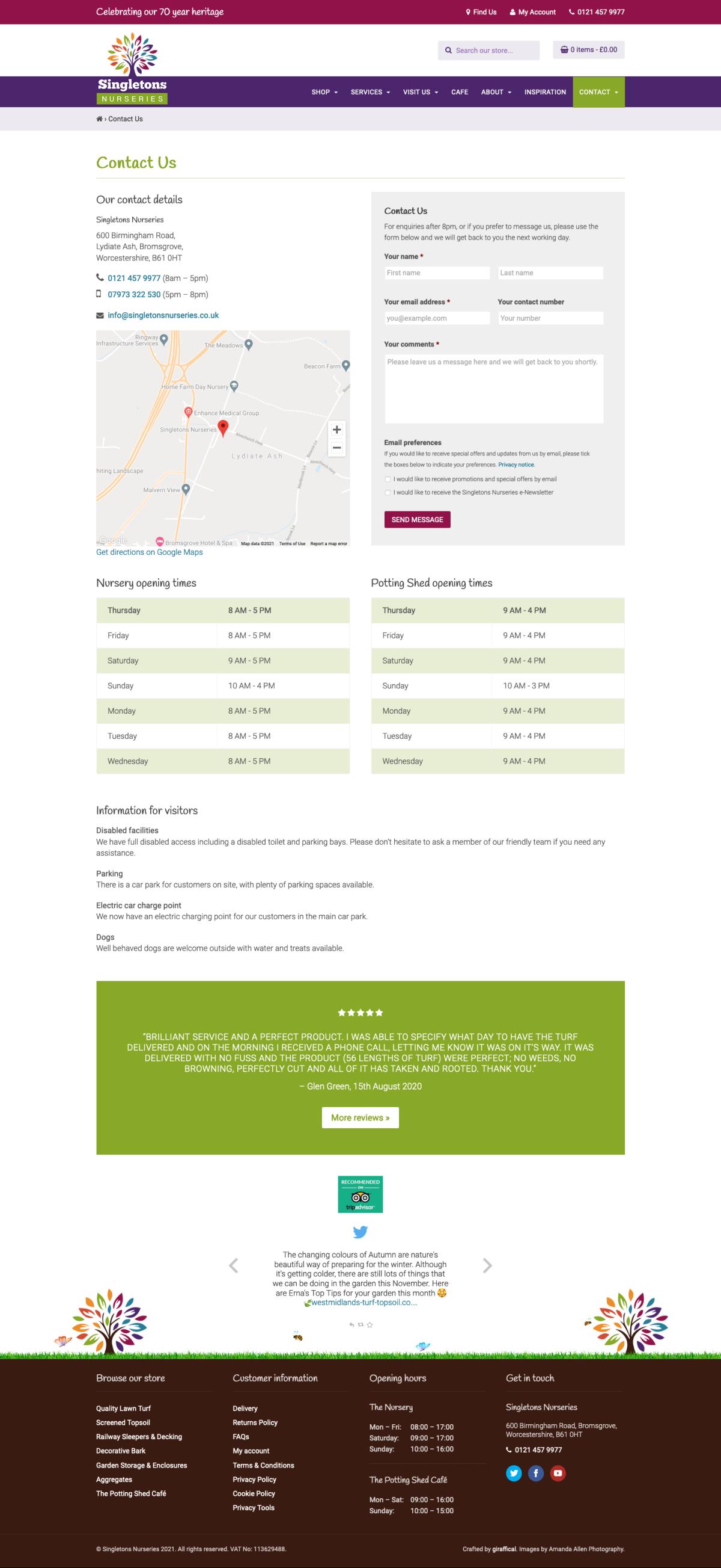 Garden Centre Website Design - Singletons Nurseries - Contact Page