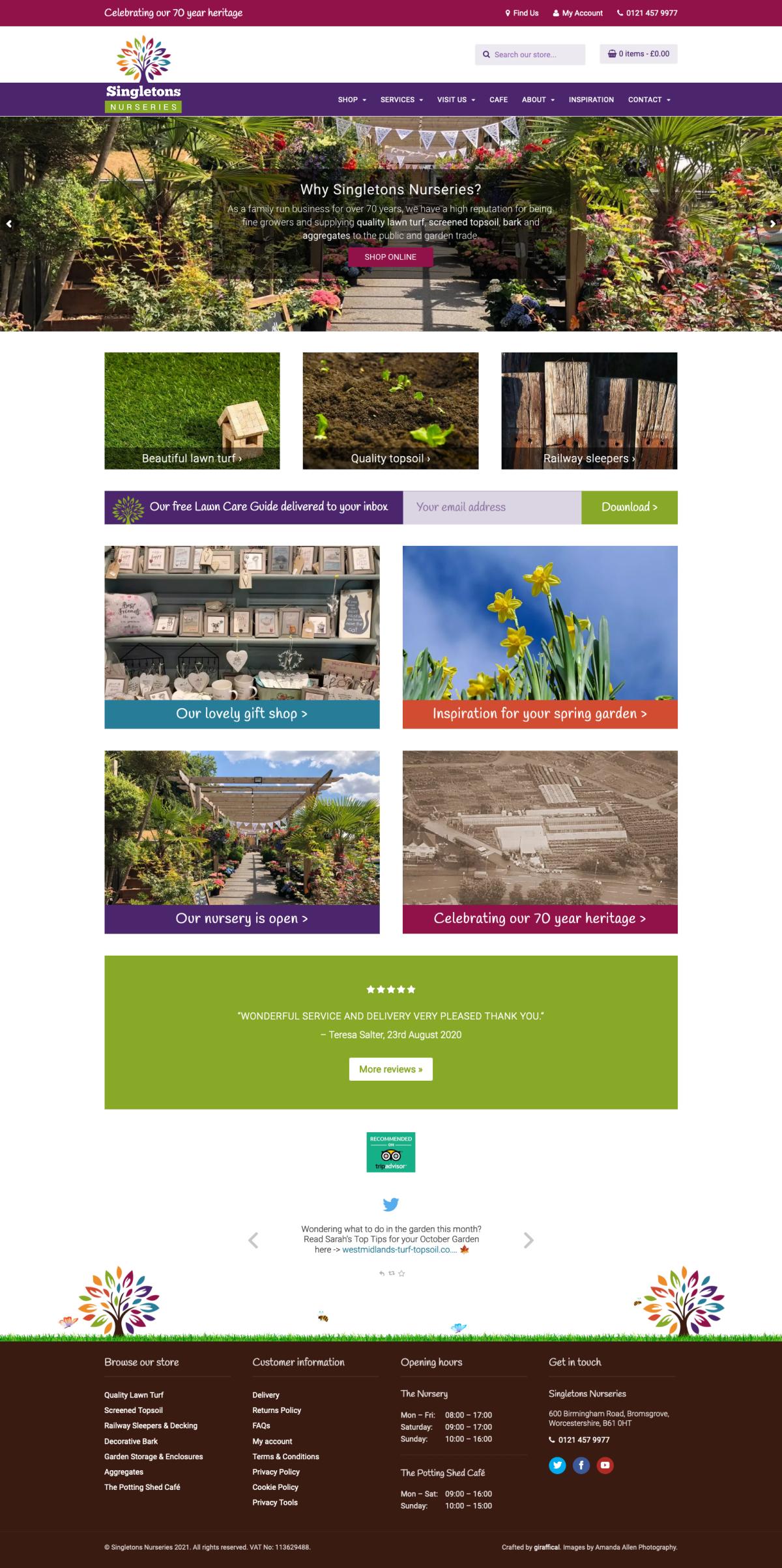 Garden Centre Website Design - Singletons Nurseries - Home Page