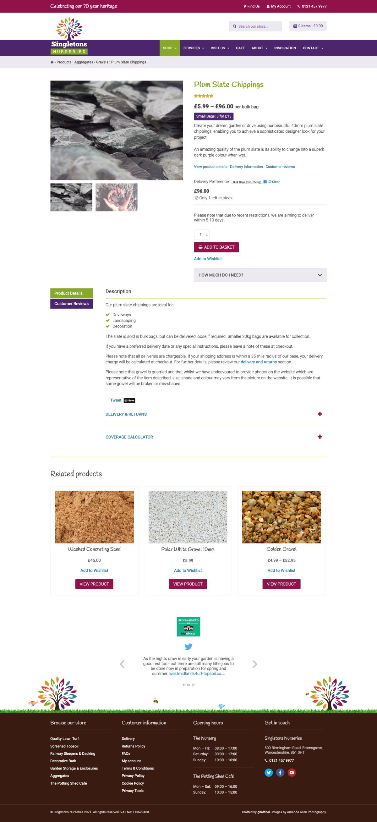 Garden Centre Website Design - Singletons Nurseries - Product Page