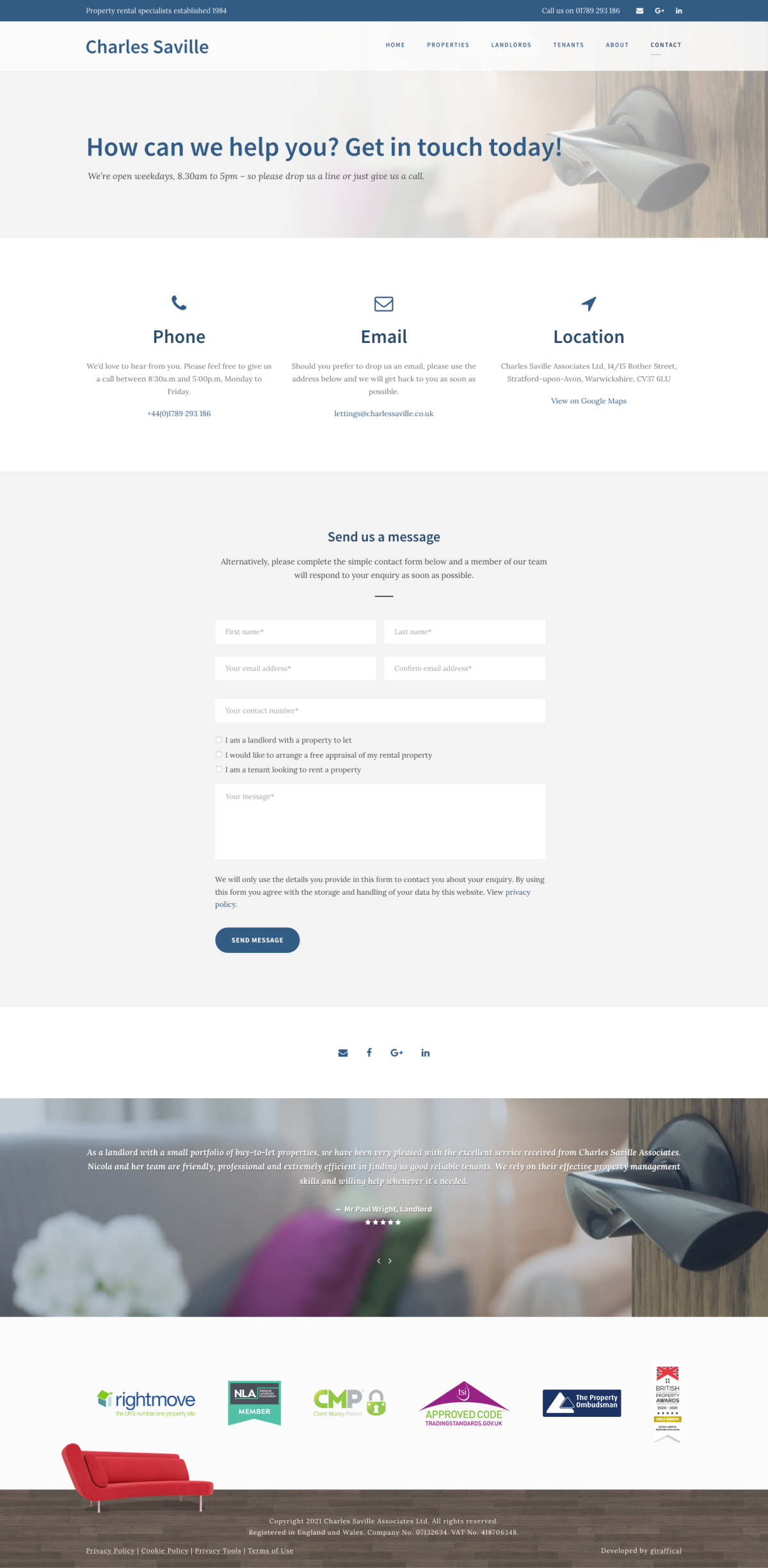 Letting Agent Website Design - Charles Saville - Contact Page