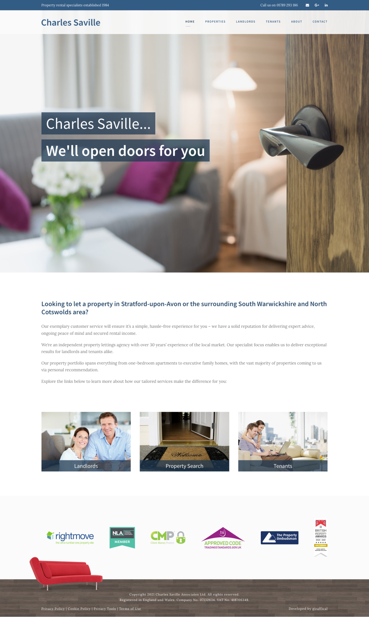 Letting Agent Website Design - Charles Saville Home Page