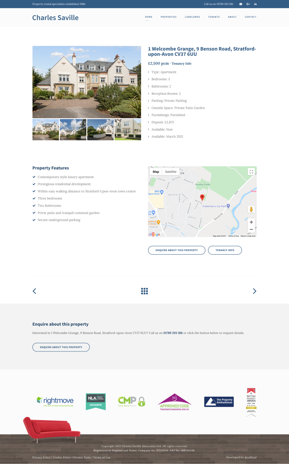 Letting Agent Website Design - Charles Saville - Property Page