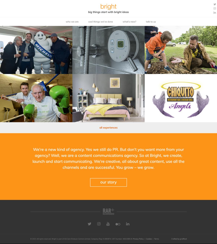 PR Marketing Agency Website - Bright - Home Page
