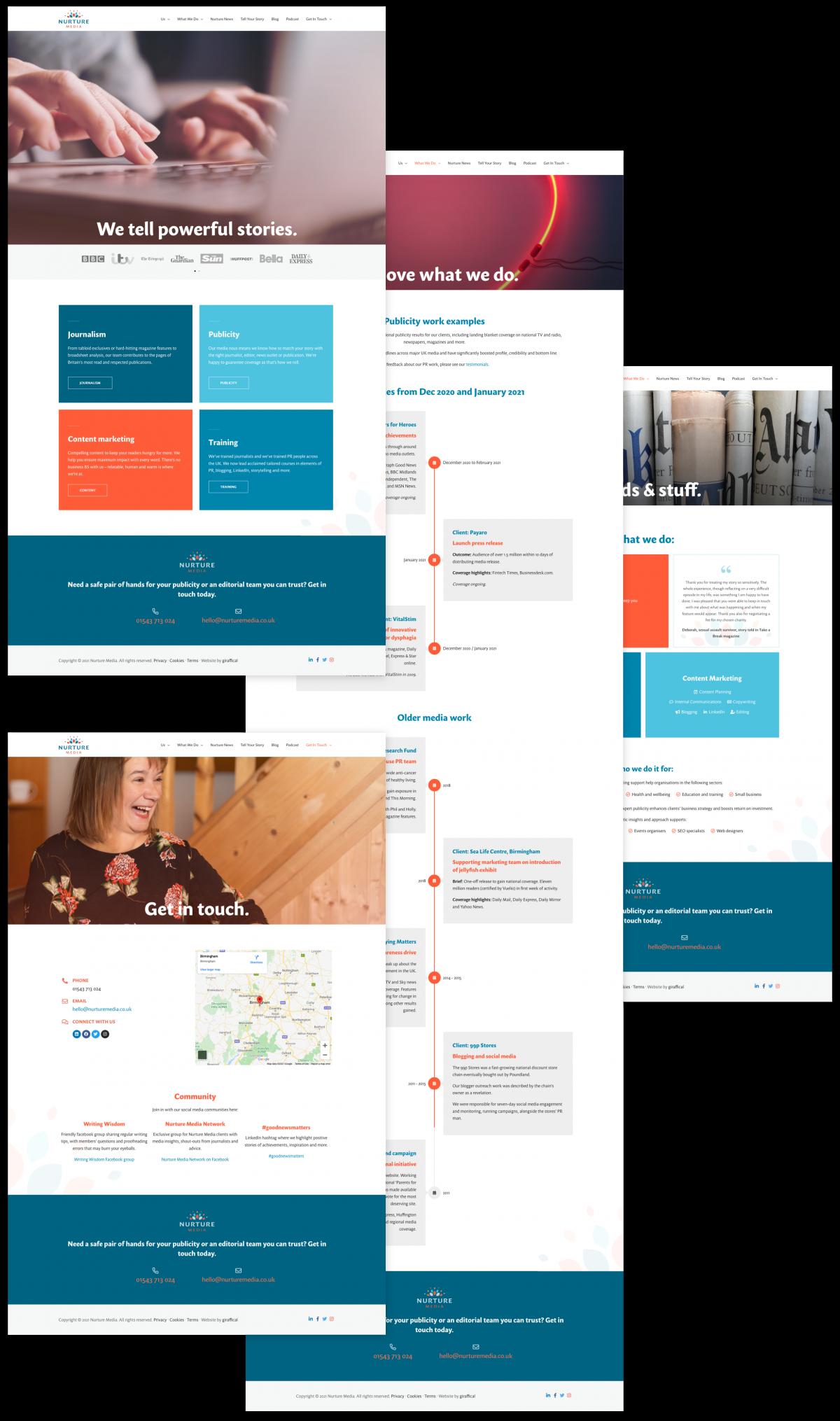 PR Publicity Agency Website Design - Nurture Media