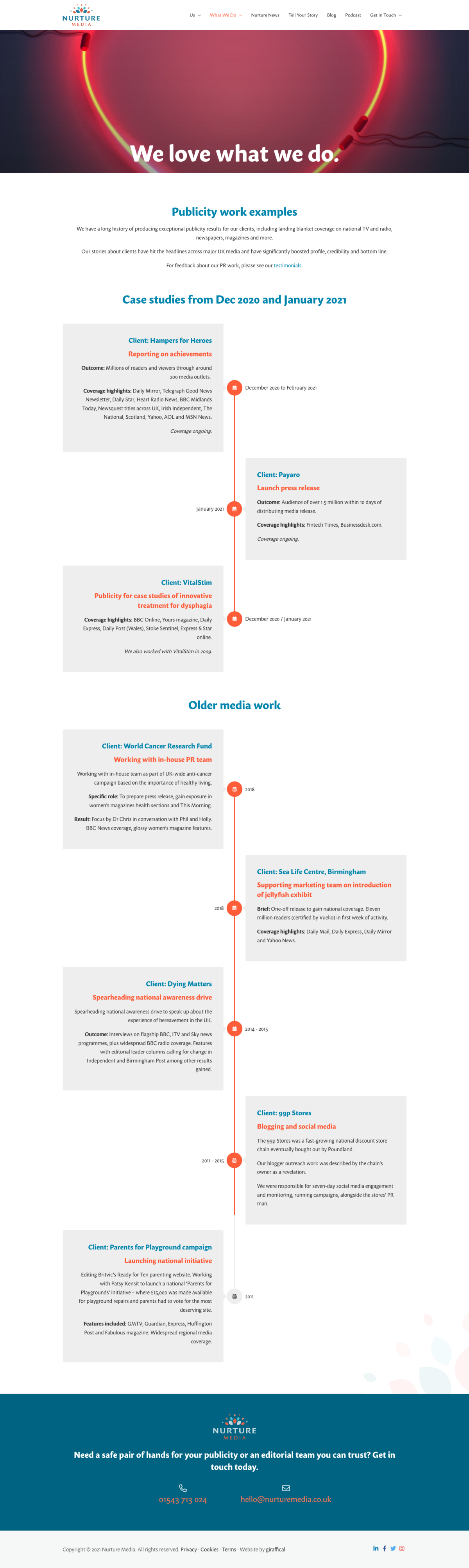 PR Publicity Agency Website Design - Nurture Media - Case Studies Page