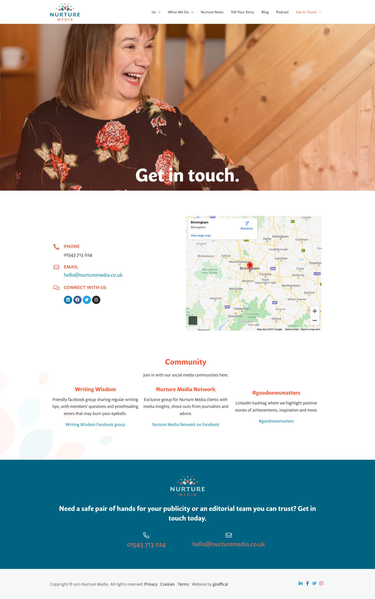 PR Publicity Agency Website Design - Nurture Media - Contact Page