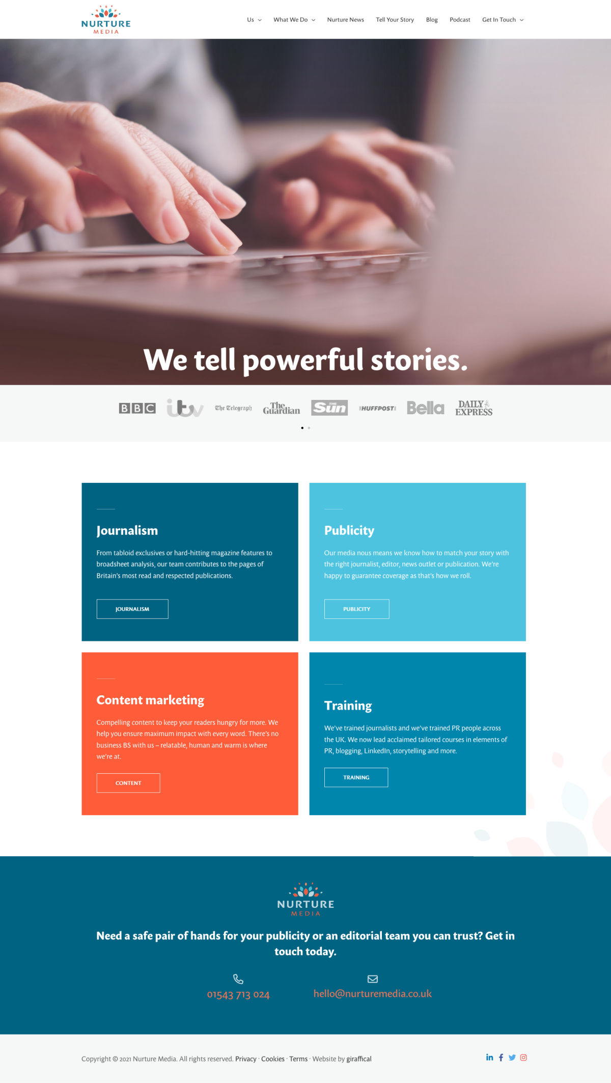 PR Publicity Agency Website Design - Nurture Media - Home Page