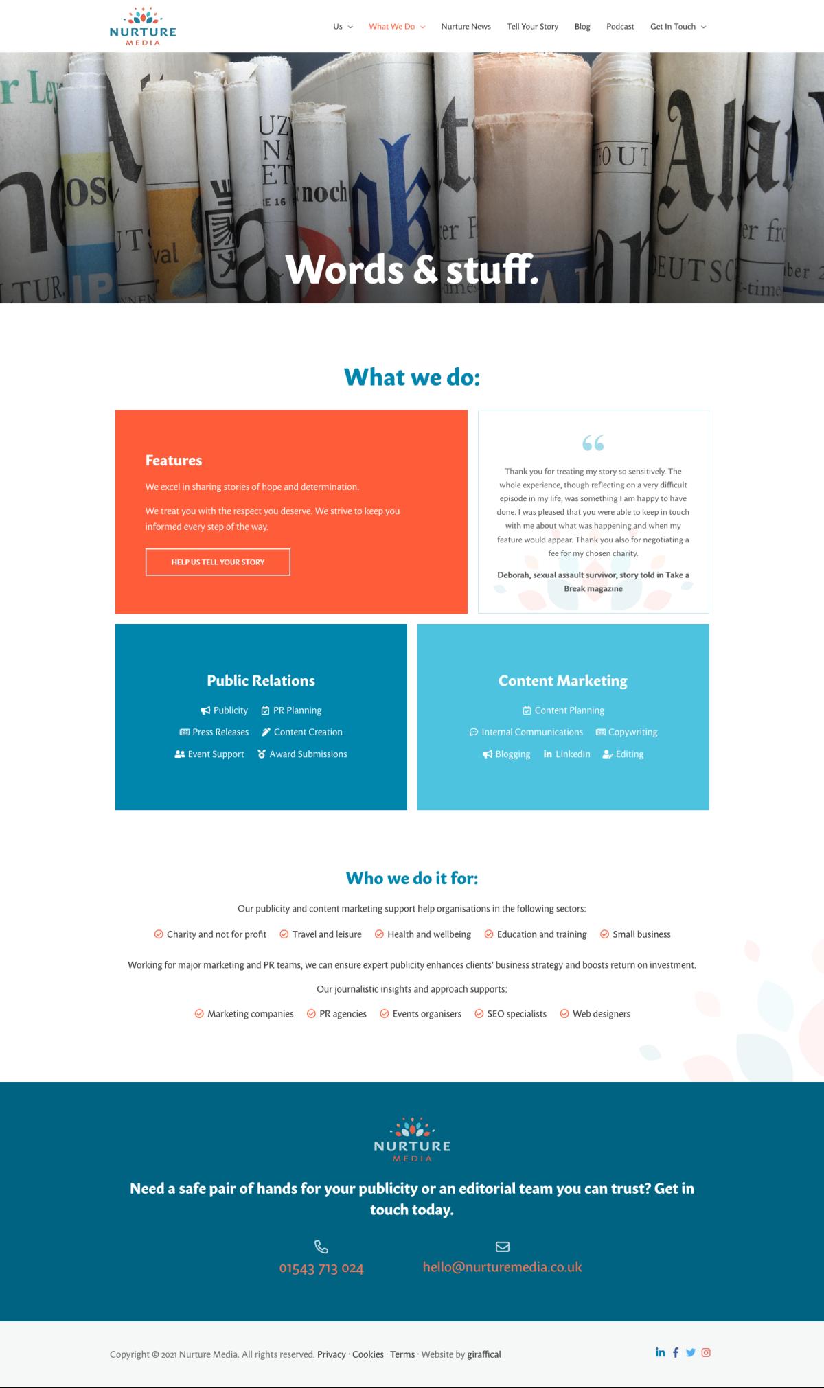 PR Publicity Agency Website Design - Nurture Media - Services Page