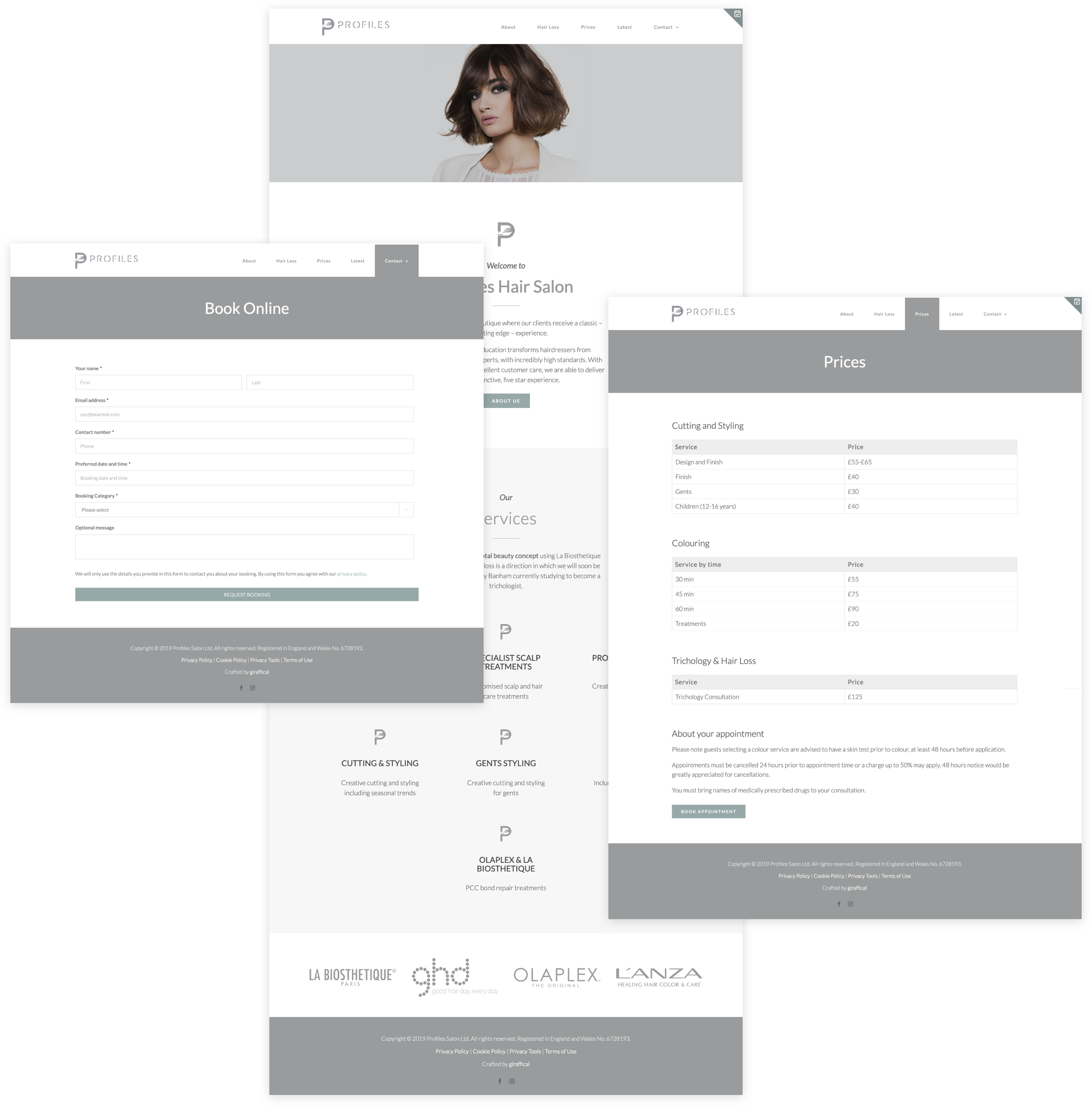 Salon Website Design - Profiles Hair Salon