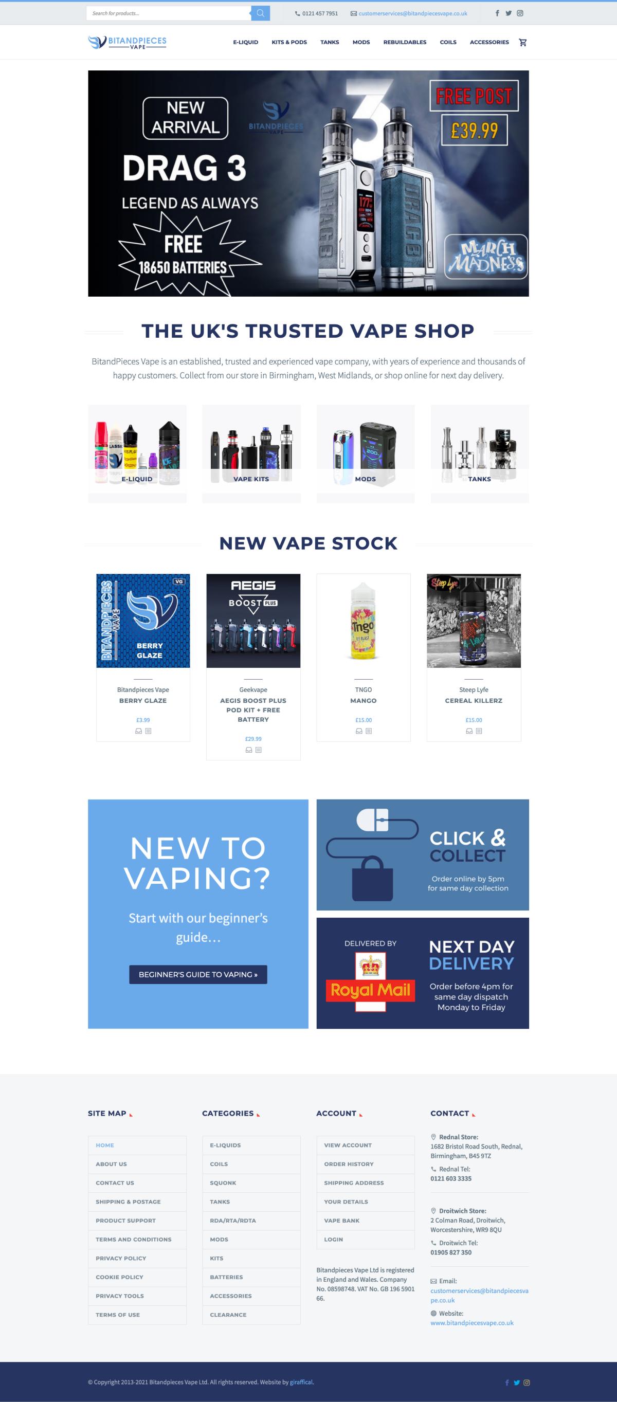 Vape E-Commerce Website Design - BitandPieces Home Page
