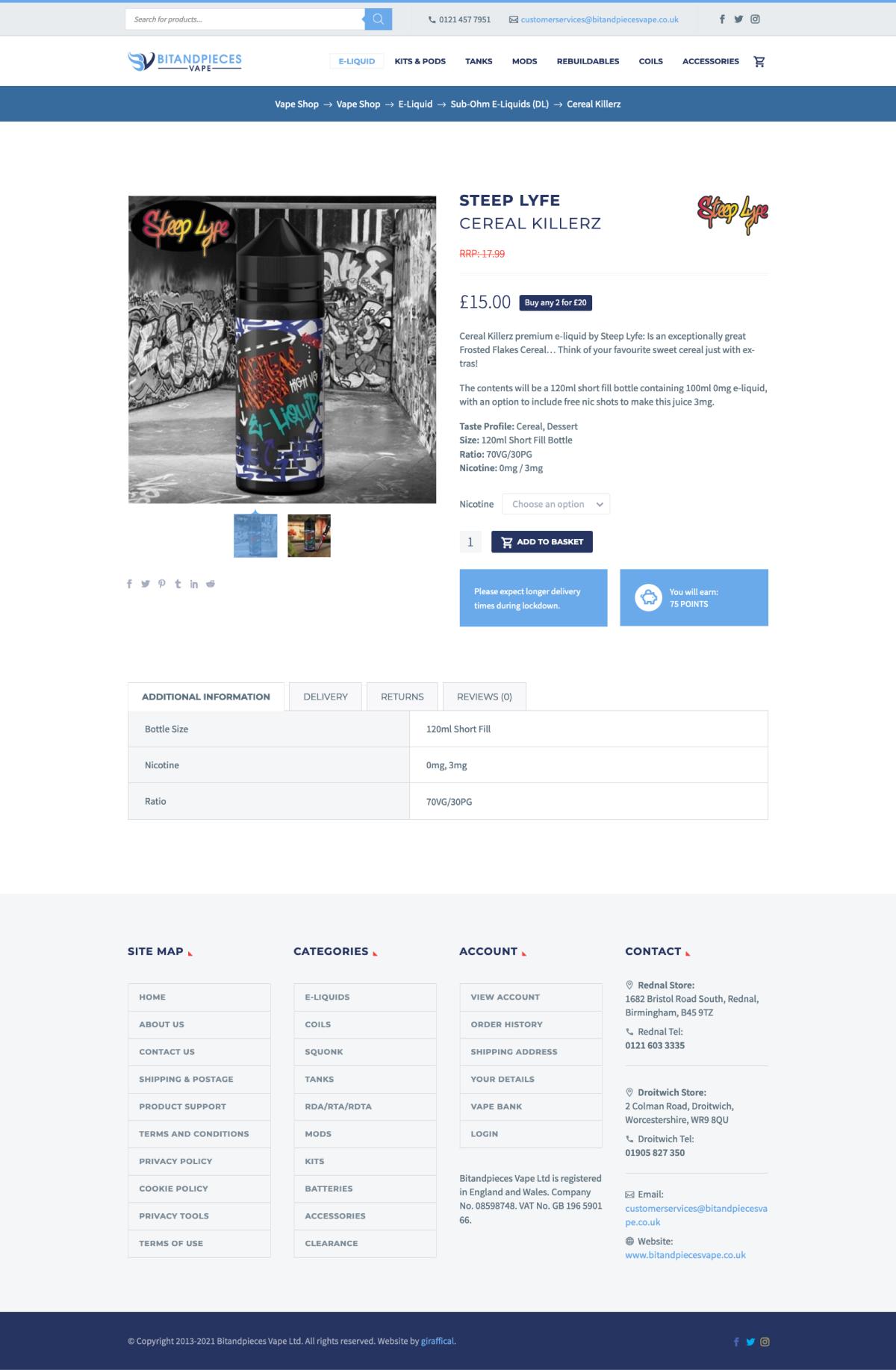 Vape E-Commerce Website Design - BitandPieces Product Page