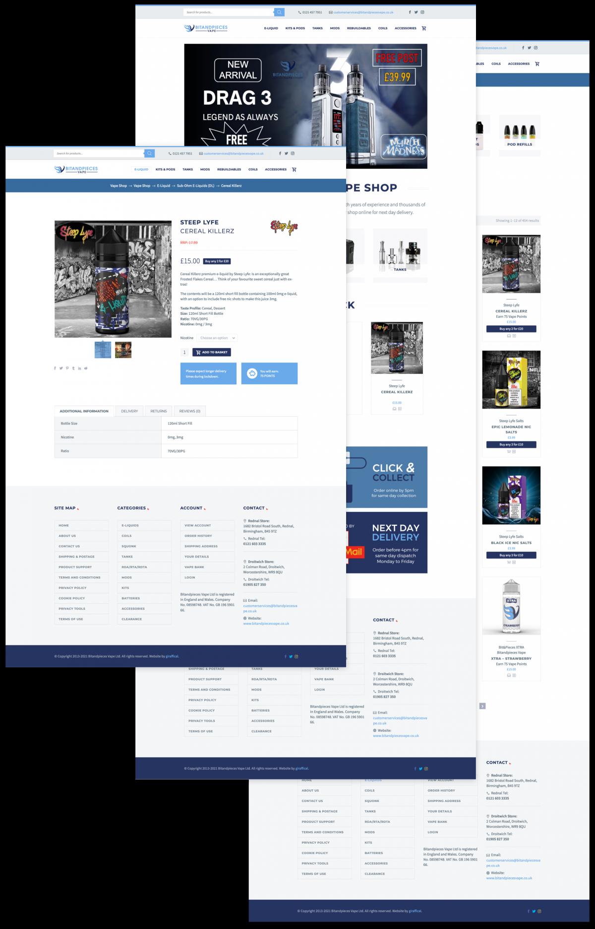 Vape E-Commerce Website Design - BitandPieces Vape Ltd
